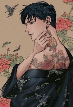 Handsome Anime Guys, Cute Anime Guys, 5 Anime, Anime Art, Character Inspiration, Character Art, Character Illustration, Illustration Art, Full Body Tattoo