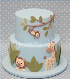 Safari / Jungle cake ... perfect for a baby shower (boy or gender neutral)