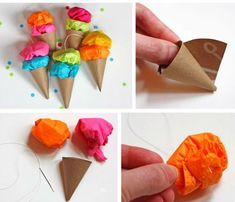 DIY Ice cream ornaments bunting party string ups decoration - elea Ice Cream Crafts, Diy Ice Cream, Ice Cream Party, Diy Arts And Crafts, Fun Crafts, Crafts For Kids, Paper Crafts, Mini Cones, Baby Play House