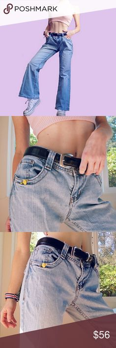 VINTAGE 70?s MEETS 90?s KICK FLARES The perfect light-wash ?, ultra flattering kick flare cut ?, all the kewl girl vibez ??. These amazing jeans feature a staple 70?s meets 90?s kick flare cut, a mid-rise, and a darlin? lil yellow flower accent on the pocket. One of one. In excellent condition with very minor distressing. Waist 15?, length 34.5?, inseam 26.5?. One of one. By Lei. Tags vintage unif brandymelville Vintage Jeans Boot Cut