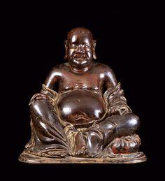 Buddha Wanderer Holz Buddha Skulptur dicker Buddhafigur Holzbuddha Dekobuddha