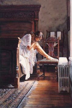 "Steve Hanks (American, b.1949 ~ ): title unknown [girl, bedside perusal]. Watercolour. Emotional realism. "" I am astounded to find that Hanks uses watercolour. I have never seen such control with this medium!"""