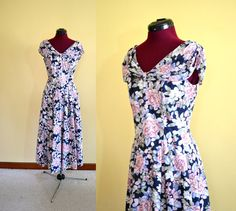 1980s Vintage Laura Ashley Blue Floral Party by TabbysVintageShop