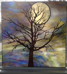 Copper foil panel 15 in.Tree and Moon - Delphi Glass Artist Gallery Entry. Showcase your art glass projects. Stained Glass Designs, Stained Glass Panels, Stained Glass Projects, Stained Glass Patterns, Stained Glass Art, Leaded Glass, Mosaic Art, Mosaic Glass, Fused Glass Art