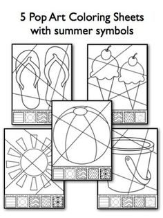 Summer Pop Art Interactive Coloring Sheets with Writing Pr