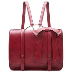 ECOSUSI Laptop Messenger Briefcase Women Vintage Bag Ladies Satchels Backpack with Bow Satchel Backpack, Leather Backpack, Pu Leather, Tote Bag, Bordeaux, Shoulder Handbags, Shoulder Bag, Briefcase Women, Laptop Bag For Women