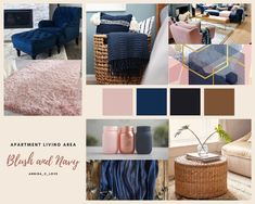 Blue And Pink Living Room, Blush Living Room, Navy Living Rooms, Living Room Decor Colors, Blue Rooms, New Living Room, Living Room Sofa, Room Colors, Living Area