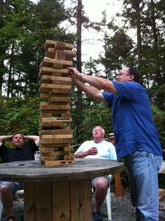 Giant Jenga with 2x4's. Great backyard fun!