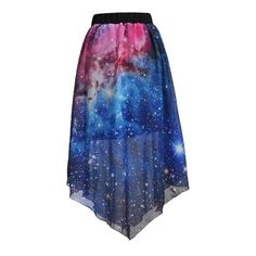 Pleated Chiffon Galaxy Cosmic Digital Printed Skirts ($27) ❤ liked on Polyvore featuring skirts, blue pleated skirt, knee length pleated skirt, galaxy skirt, galaxy print skirt and pleated skirt