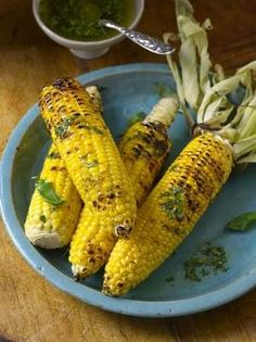 Grilled Corn with Lime and Basil by Ellie Krieger From: http://www.usaweekend.com/article/20110513/FOOD04/105150317/Healthy-sizzle-600-calorie-meal-straight-off-grill-from-Cooking-Channel-s-Ellie-Krieger
