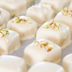 Step-by-step instructions on how to make citrus & pistachio marzipan bonbons.