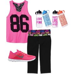 A fashion look from May 2012 featuring yoga activewear, victoria secret sportswear and low top shoes. Browse and shop related looks. Workout Attire, Workout Wear, Pink Workout, Fit Board Workouts, Running Workouts, Nike Shoes Cheap, Cheap Sneakers, Cheap Nike, Nike Free Run 3