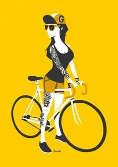 It's great to see some fresh illustration pieces from time to time. Although quite simple, these illustrations by Jorge Lawerta are pretty rad and quirky. Jorge is. Bike Poster, Poster S, Art Expo, Hipster Vintage, Bike Illustration, Bicycle Art, Cycling Art, Mellow Yellow, Art Plastique