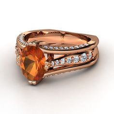 Oval Fire Opal 14K Rose Gold Ring with Diamond   Concerto Ring   Gemvara