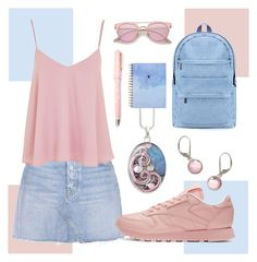 """""""💗PINK & BLUE💙"""" by avagoldworks ❤ liked on Polyvore featuring GRLFRND, Topshop, Reebok, Fountain and avagoldworks"""