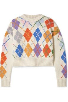 White Cropped embroidered cable knit alpaca blend sweater