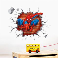 3d Spiderman Wall Stickers Home Decoration Adesivos De Paredes Kids Room Super Hero Wall Decals Art #Affiliate