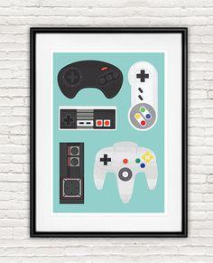 Rétro gaming affiche, jeu vidéo impression, geekery art, affiches de contrôleur de jeu, décor de grotte de l'homme, enfants salle art, art de la chambre jeu A4, 8 x 10