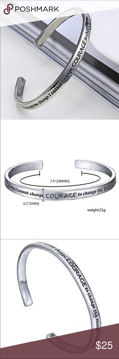 """The Serenity Prayer Bangle Quote- """"God grant me the serenity  To accept the things I cannot change;  Courage to change the things I can;  And wisdom to know the difference"""" Jewelry Bracelets"""