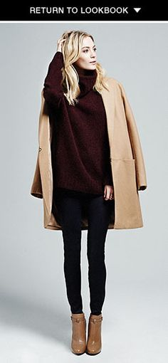 Camel coat and knits in the look featuring Theory Fall Outfits, Fashion Outfits, Womens Fashion, Funky Fashion, Oversized Coat, Autumn Winter Fashion, Winter Style, Fashion Brands, Style Me