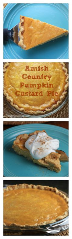 I love custard pies! Can't wait to try this Amish Country Pumpkin Custard Pie recipe. Looks amazing! Pumpkin Dessert, Pie Dessert, Dessert Recipes, Pumpkin Pies, Dutch Recipes, Sweet Recipes, Cooking Recipes, Pie Recipes, Just Desserts