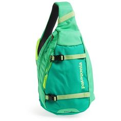 Women's Patagonia 'Atom' Sling Backpack ($49) ❤ liked on Polyvore featuring bags, backpacks, backpack, mesh backpack, green bag, patagonia bags, padded backpack and patagonia daypack