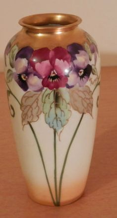 Old Antique Pickard Style Hand Painted Fine Porcelain China Vase Artist Signed
