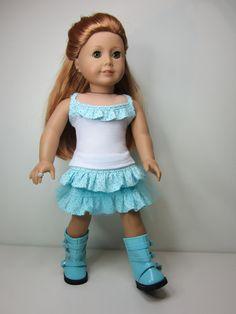 American Girl doll clothes- 2 pcs, aqua ruffle skirt with white strappy tank. via Etsy