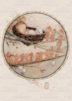 Baby watched over by Fairies ~ Illustration by Mabel Lucie Attwell English Illustrator & Author of Children's Books, Greetings Cards & Postcards . Vintage Cards, Vintage Postcards, Elves And Fairies, Baby Fairy, Kawaii, Children's Book Illustration, Book Illustrations, Fairy Art, Retro