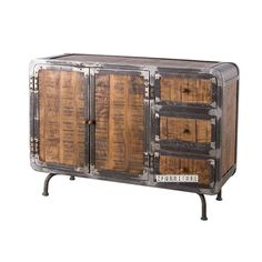 Our SAIGON series has a fabulous industrial/funky look, its a real eyecatcher! Made with solid mango wood and aged-look metal. Solid Wood Sideboard, Aging Metal, Furniture Movers, Country Style Homes, Buffet, Living Spaces, Hardwood, Mango, Cabinet