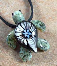 Baby sea turtle necklace glass beads pendant Handmade custom jewelry Lampwork beads Glass flowers Boro beads by RyanJesseeglass on Etsy https://www.etsy.com/listing/263934825/baby-sea-turtle-necklace-glass-beads
