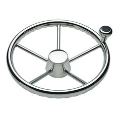 """Ongaro 170 13.5"""" Stainless 5-Spoke Destroyer Wheel w/ Stainless Cap and FingerGrip Rim - Fits 3/4"""" Tapered Shaft Helm - https://www.boatpartsforless.com/shop/ongaro-170-13-5-stainless-5-spoke-destroyer-wheel-w-stainless-cap-and-fingergrip-rim-fits-34-tapered-shaft-helm/"""