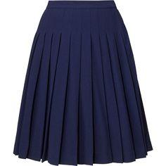 Orla Kiely Wool Crepe Pleated Skirt ($135) ❤ liked on Polyvore featuring skirts, bottoms, saias, faldas, navy, blue skirt, navy pleated skirt, knee length skirts, wool knee length skirts and blue wool skirt