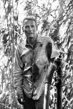 Paul Newman on the set of Cool Hand Luke.