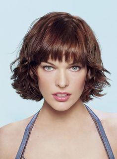 Milla Jovovich short wavy hair
