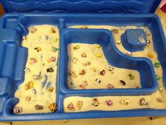 """Pet Week"" at preschool, so we filled our texture table with rice and Littlest Pet Shop  The kids looooooove it!!!"