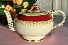 Paragon China One PInt Cerise and Gold Teapot. c.1952+