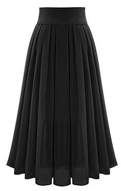 86d2ab4ef5b7 Omela Women Pleated Maxi Skirt High Waist Chiffon Long Skirts A-Line (Black  Size