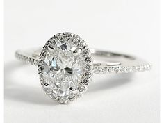 Oval Halo Diamond Engagement Ring in 18K White Gold