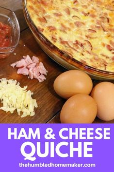 I love trying out new breakfast recipes, and this ham and cheese crustless quiche recipe looks so good! I can't wait to try it out with my family! Real Food Recipes, Great Recipes, Ham And Cheese Quiche, Easy Weekday Meals, How To Read A Recipe, Good Food, Yummy Food, Quiche Recipes, Cooking Time