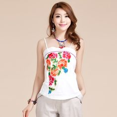 Impressive Flowers Embroidery White Halter Top - Chinese Shirts & Blouses - Women