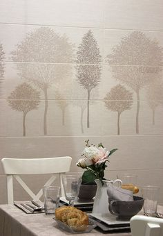 Sirocco Battery Cream decor tile set with tree pattern