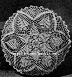 Pineapple Doily or Pillow  	  Crochet Pineapple Designs  Book No. 102  Coats & Clark's  1958