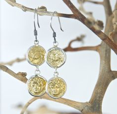 Ancient Coin Earring - Layered Dangling - 18K Gold Plated, Sterling Silver, Medusa, and Mythology Creature Gryffin