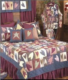 Patch Magic Quilts Primitive Hearts Queen Quilt by Patch Magic QuiltsBedding: The Home Decorating Company Country Style Curtains, Country Bedding, Country Quilts, Primitive Bedding, Primitive Quilts, Primitive Country, Bedroom Sets, Bedding Sets, Bedroom Decor