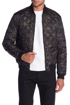 LUCKY BRAND Camouflage Quilted Bomber Jacket. #luckybrand #cloth Welt Pocket, Nordstrom Rack, Camouflage, Lucky Brand, Bomber Jacket, Mens Fashion, Suits, Long Sleeve, Jackets