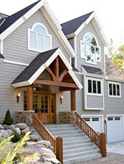 Compact hybrid timber frame home design photos timber for Timber frame porch addition