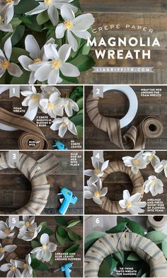 DIY Paper Magnolia Wreath