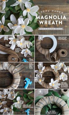 DIY Paper Magnolia Wreath