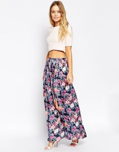 ASOS Maxi Skirt with Splits in Floral Print